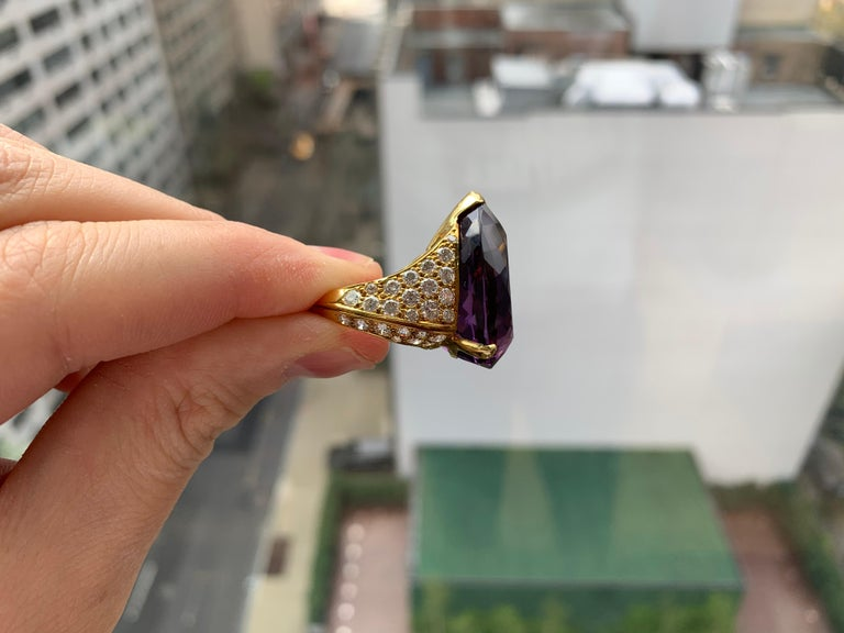 Pear Cut Pear Shape Amethyst Cocktail Ring For Sale