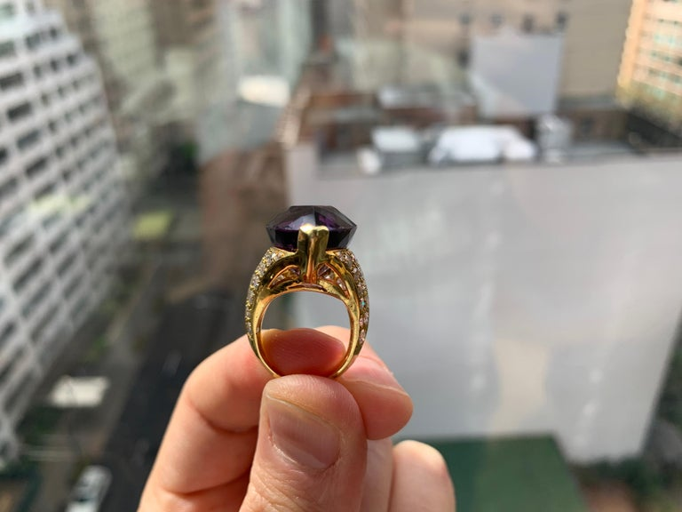 Women's or Men's Pear Shape Amethyst Cocktail Ring For Sale