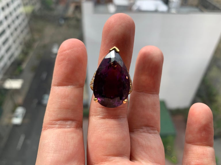 Pear Shape Amethyst Cocktail Ring For Sale 1