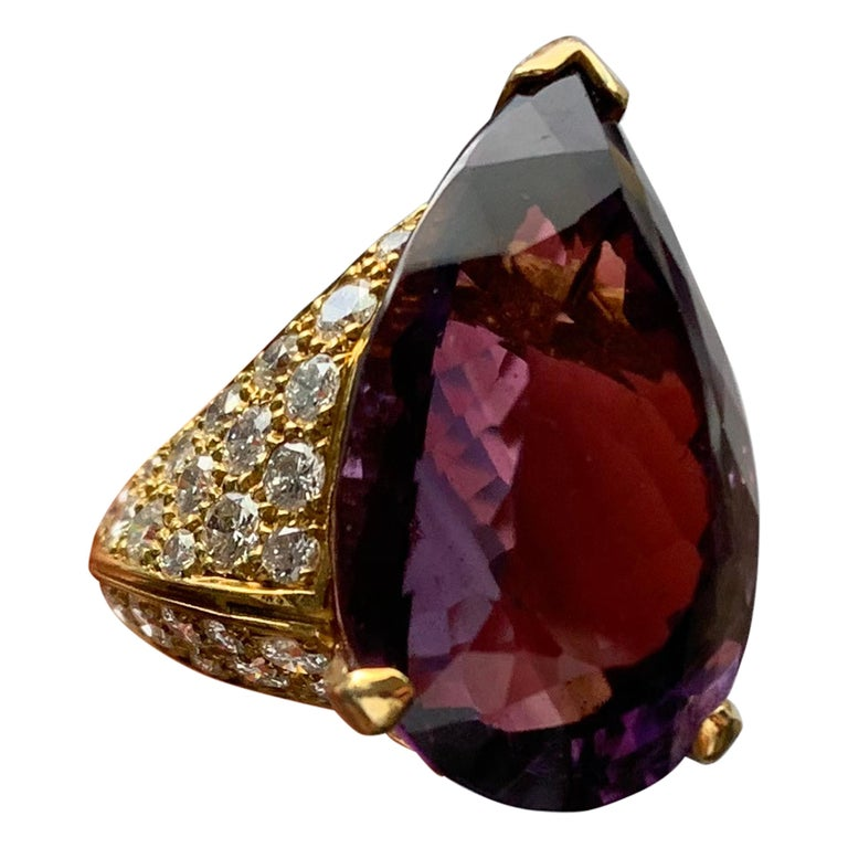 Pear Shape Amethyst Cocktail Ring For Sale