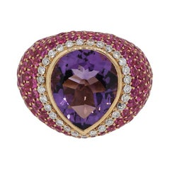 Pear Shape Amethyst Pave Set Diamond Dome Ring
