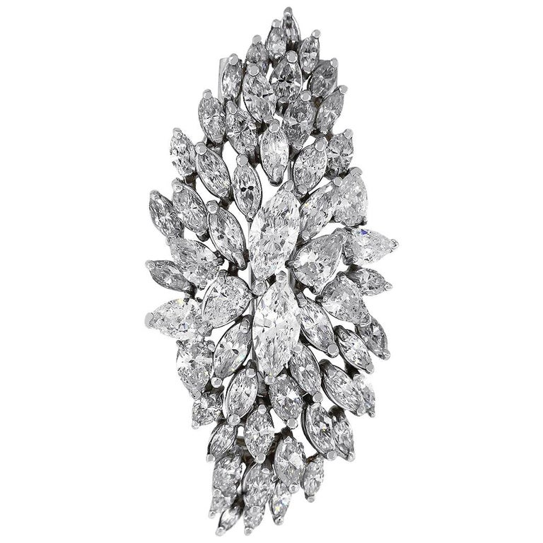 Pear Shape and Marquise Cut Diamond Pin For Sale