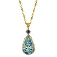 Bezel Set Pear Shape Aquamarine and Blue Sapphire 18k Yellow Gold Pendant