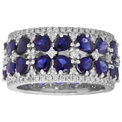 Pear Shape Blue Sapphires and Diamonds White Gold Band Ring