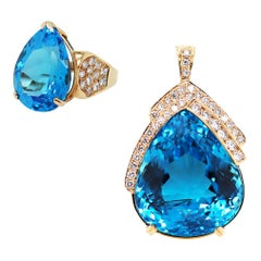 Pear Shape Blue Topaz and Diamond 14 Karat Yellow Gold Ring and Pendant Set