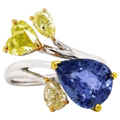 Pear Shape Burma Blue Sapphire and Yellow Diamond White Gold Cocktail Ring