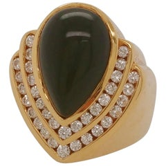 Pear Shape Cabochon Cut Onyx and Diamond Ladies Ring 18 Karat Yellow Gold