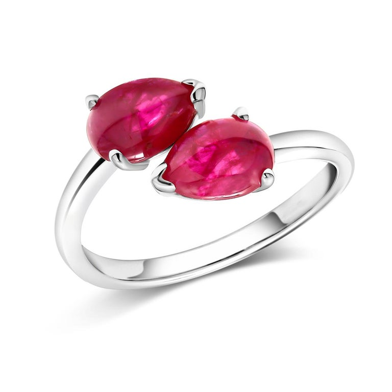 Oval Cut Two Pear Shape Cabochon Ruby Facing Gold Cocktail Ring For Sale