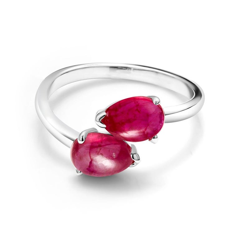 Women's Two Pear Shape Cabochon Ruby Facing Gold Cocktail Ring For Sale