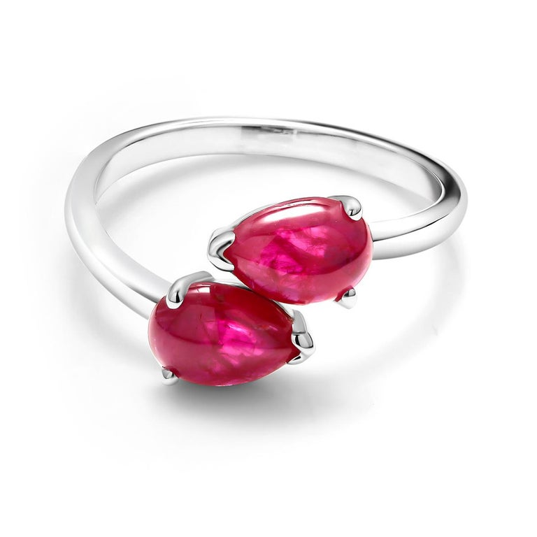 Two Pear Shape Cabochon Ruby Facing Gold Cocktail Ring For Sale 2