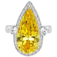 Pear Shape Canary Yellow Cubic Zirconia Halo Sterling Ring
