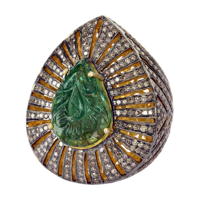 Pear Shape Carved Emerald Ring with Diamonds in Silver For Sale