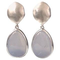 Pear-shape Cabochon Chalcedony Drop Sterling Silver Earrings