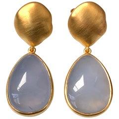 Pear-shape Cabochon Chalcedony Vermeil Drop Earrings