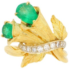 Pear Shape Colombian Emerald and Diamond Ring Mounted in Carved 18k Yellow Gold