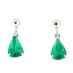 Pear Shape Colombian Emerald White Gold Studs Earrings