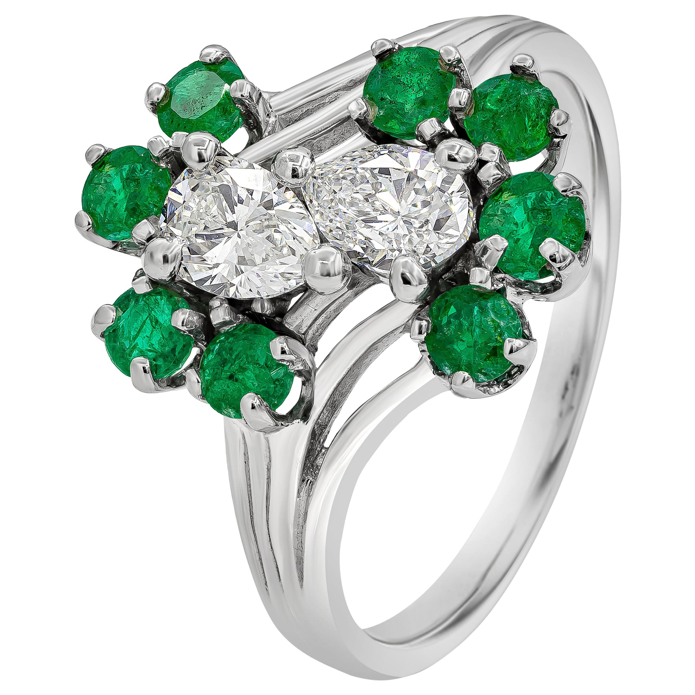 Pear Shape Diamond and Green Emerald Fashion Ring