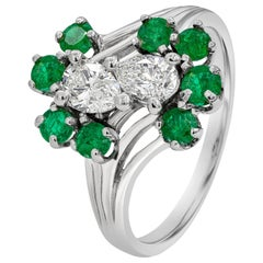Pear Shape Diamond and Green Emerald Fashion Ring