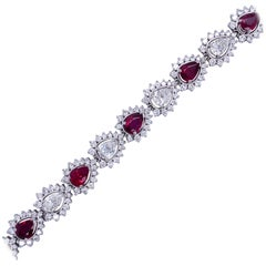 Pear Shape Diamond and Ruby Halo Bracelet 17.50 Carat Platinum