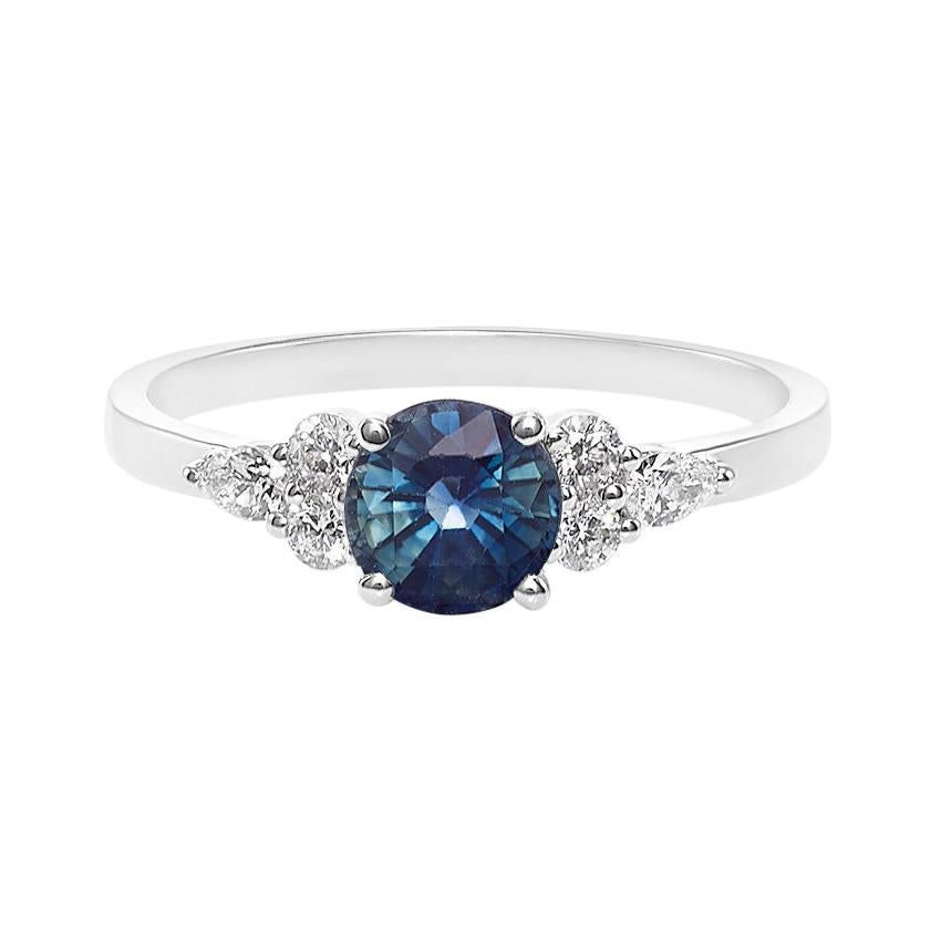 Pear Shape Diamond and Teal Blue Sapphire Engagement Ring in 18K White Gold