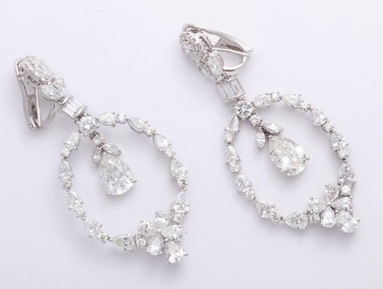 Romantic Pear Shape Diamond and White Gold Chandelier Earrings For Sale