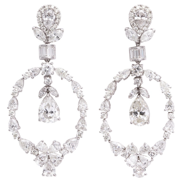 Pear Shape Diamond and White Gold Chandelier Earrings For Sale