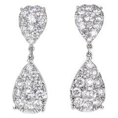Pear Shape Diamond Dangling Earrings