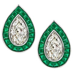 Pear Shape Diamond Emerald Platinum Earrings
