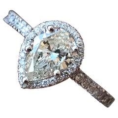 Pear Shape Diamond Halo Engagement Ring, 0.85 Centre Diamond