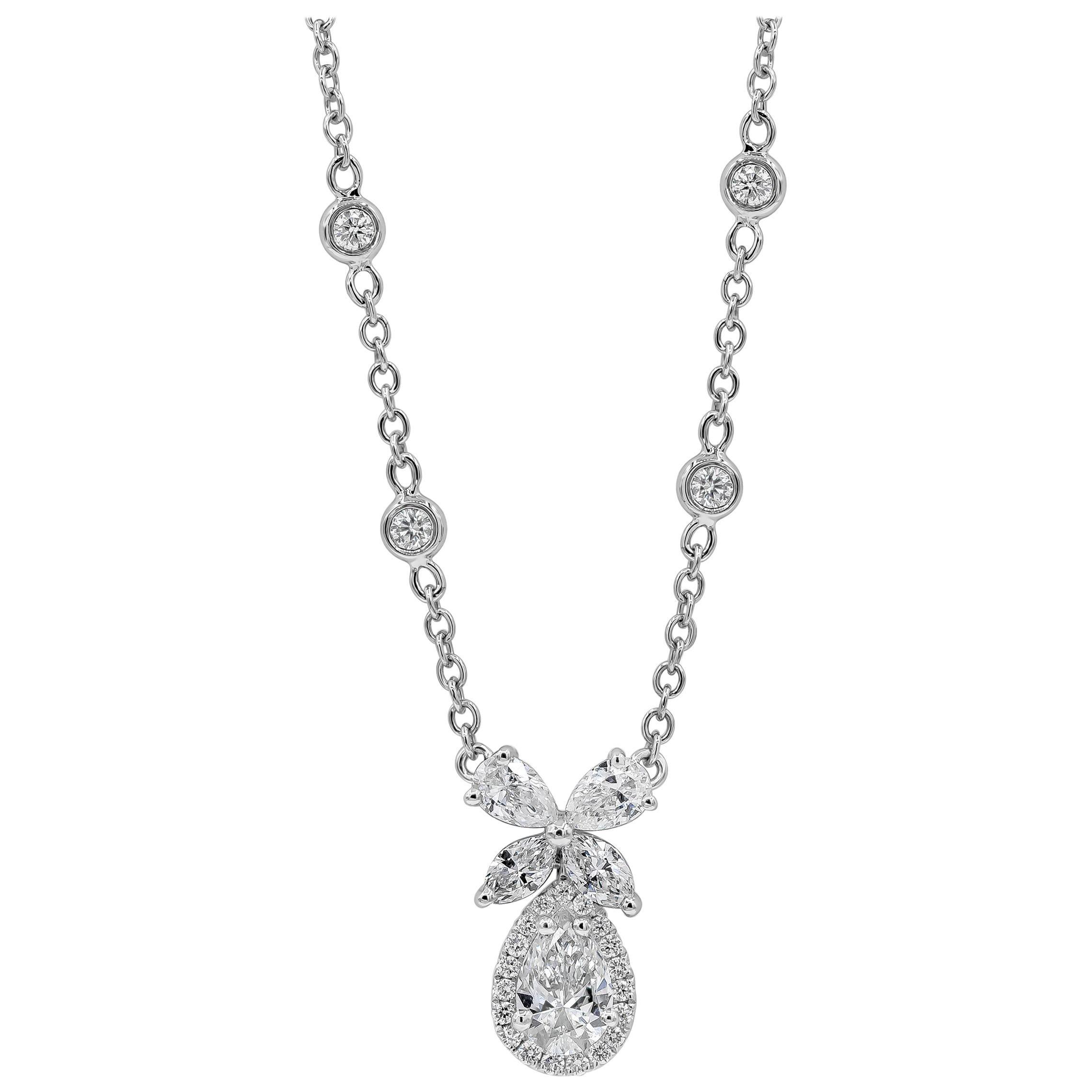 Roman Malakov Pear Shape Diamond Halo Pendant Necklace
