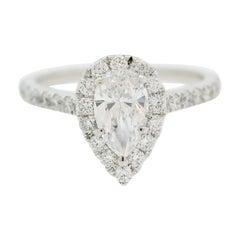 Pear-Shape Diamond Halo Platinum Engagement Ring
