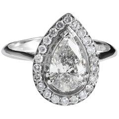 Pear Shape Diamond Halo Ring Set in 18 Karat White Gold Handmade in Italy