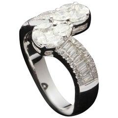 Pear Shape Diamond Illusion Toi et Moi Ring in 18 Karat Gold