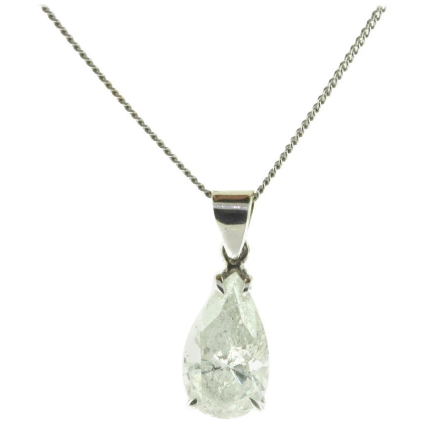 Pear Shape Diamond Pendant Drop Necklace White Gold