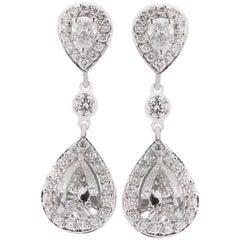 Pear Shape Diamond Platinum Dangle Drop Earrings