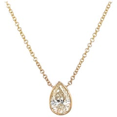 Pear Shape Diamond Solitaire Pendant Necklace 1.32 Carats 14 Karat Yellow Gold