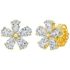 Pear Shape Diamonds Flower Earrings