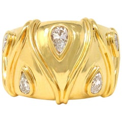 Pear Shape Diamonds Studded Wide Band in 18 Karat a Yellow Gold