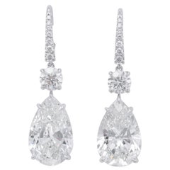 Pear Shape Drop Earrings GIA Certified