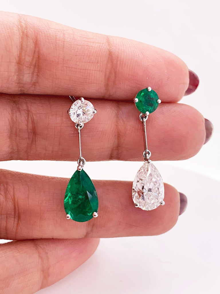 Pear Cut Pear Shape Emerald and Diamond 18 Carat White Gold Drop Earrings For Sale