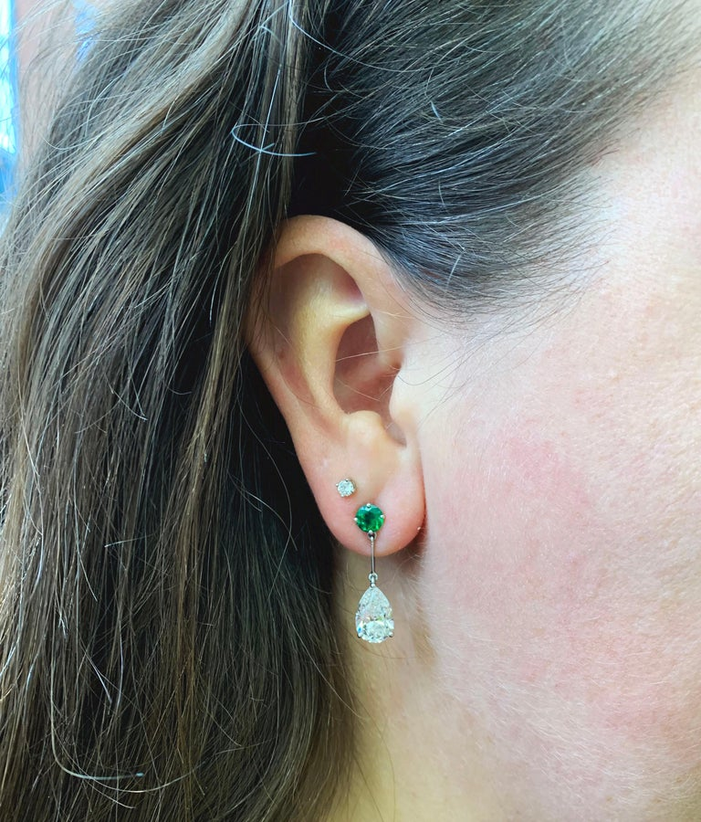 Pear Shape Emerald and Diamond 18 Carat White Gold Drop Earrings For Sale 1