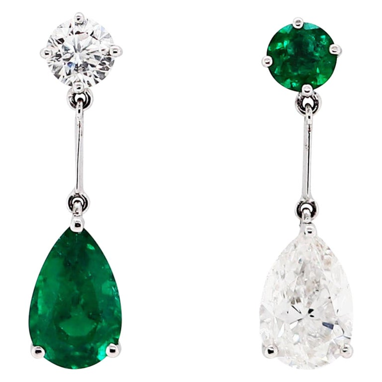 Pear Shape Emerald and Diamond 18 Carat White Gold Drop Earrings For Sale