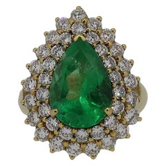 Pear Shape Emerald and Diamond Cluster Ring Yellow Gold