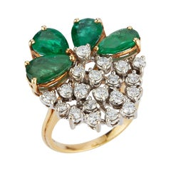 Pear Shape Emerald and Diamond Cocktail Ring