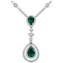 Pear Shape Emerald and Diamond Double Halo Drop Pendant Necklace