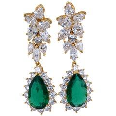 Pear Shape Emerald and Diamond Drop Earrings