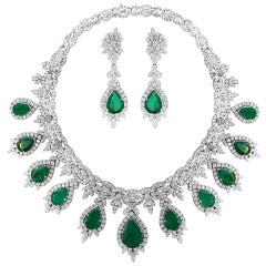 Pear Shape Emerald and Diamond Necklace and Earring Bridal Suite