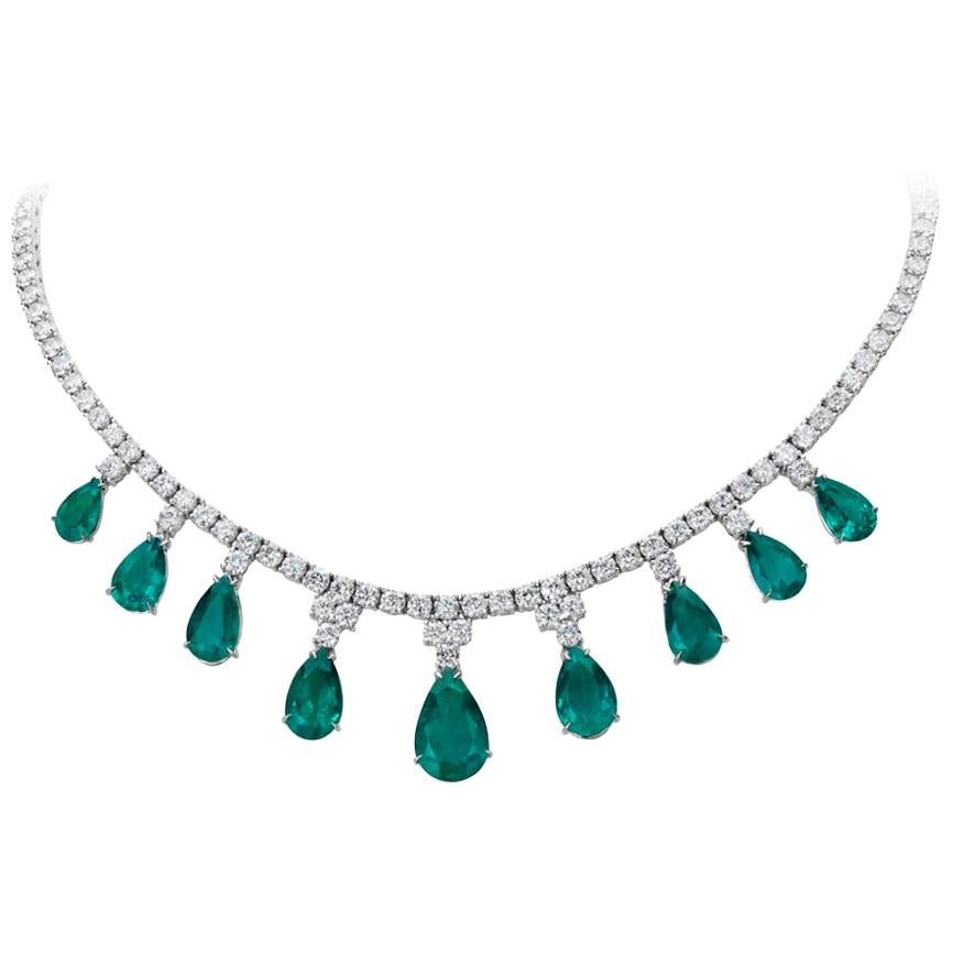 Pear Shape Emerald and Diamond Necklace