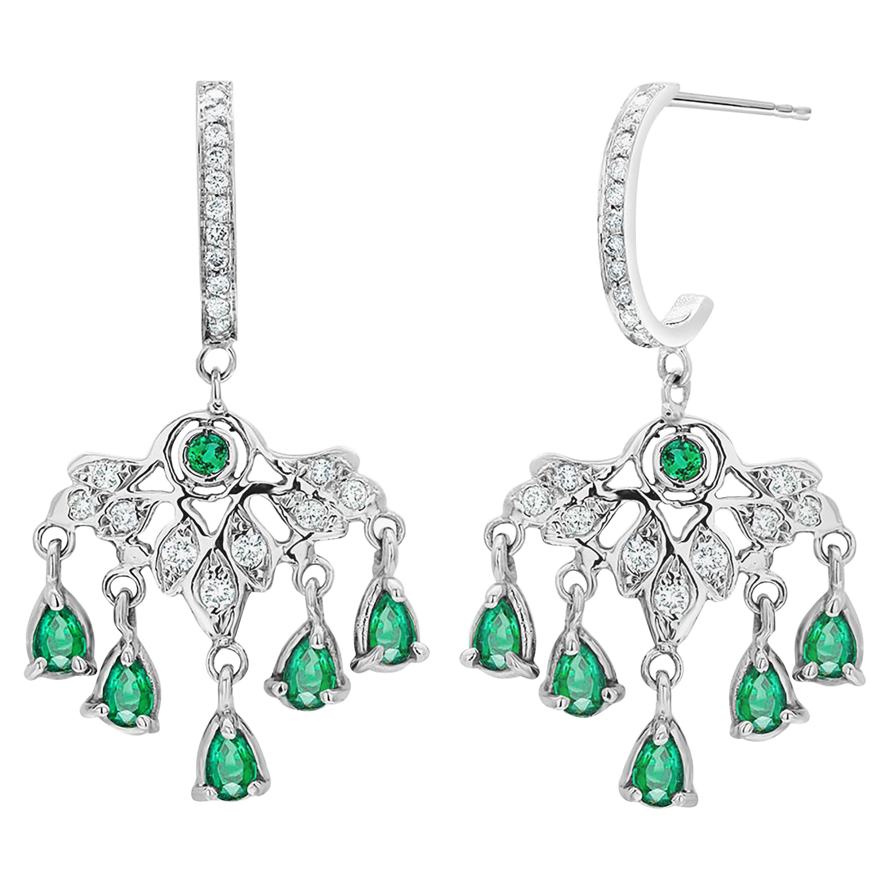 Pear Shape Dangle Emerald and Diamond Gold Hoop Earrings Weighing 4.85 Carat