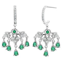 Pear Shape Emerald and Diamond White Gold Hoop Drop Earrings Weighing 4.85 Carat